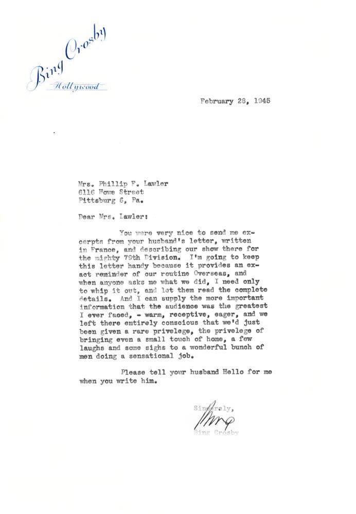Letter from Bing Crosby to the wife of a solider. | Courtesy of the Crosby Family
