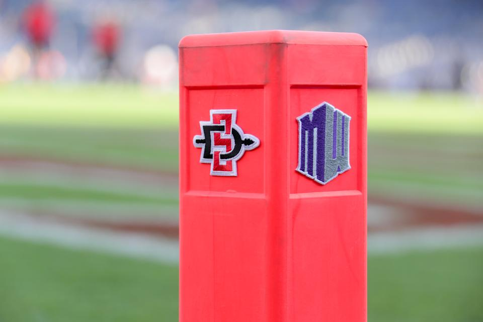SAN DIEGO, CA - SEPTEMBER 08:  The Mountain West Conference and the logo of the San Diego State Aztecs attached to the corner endzone pylon prior to  their season home opener against the Sacramento State Hornets at SDCCU Stadium on September 8, 2018 in San Diego, California.  (Photo by Kent Horner/Getty Images)