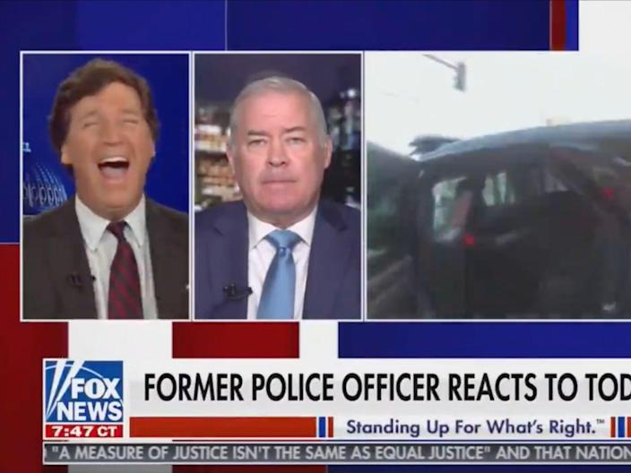 <p>Fox News host Tucker Carlson during his broadcast Tuesday evening</p> (Fox News)