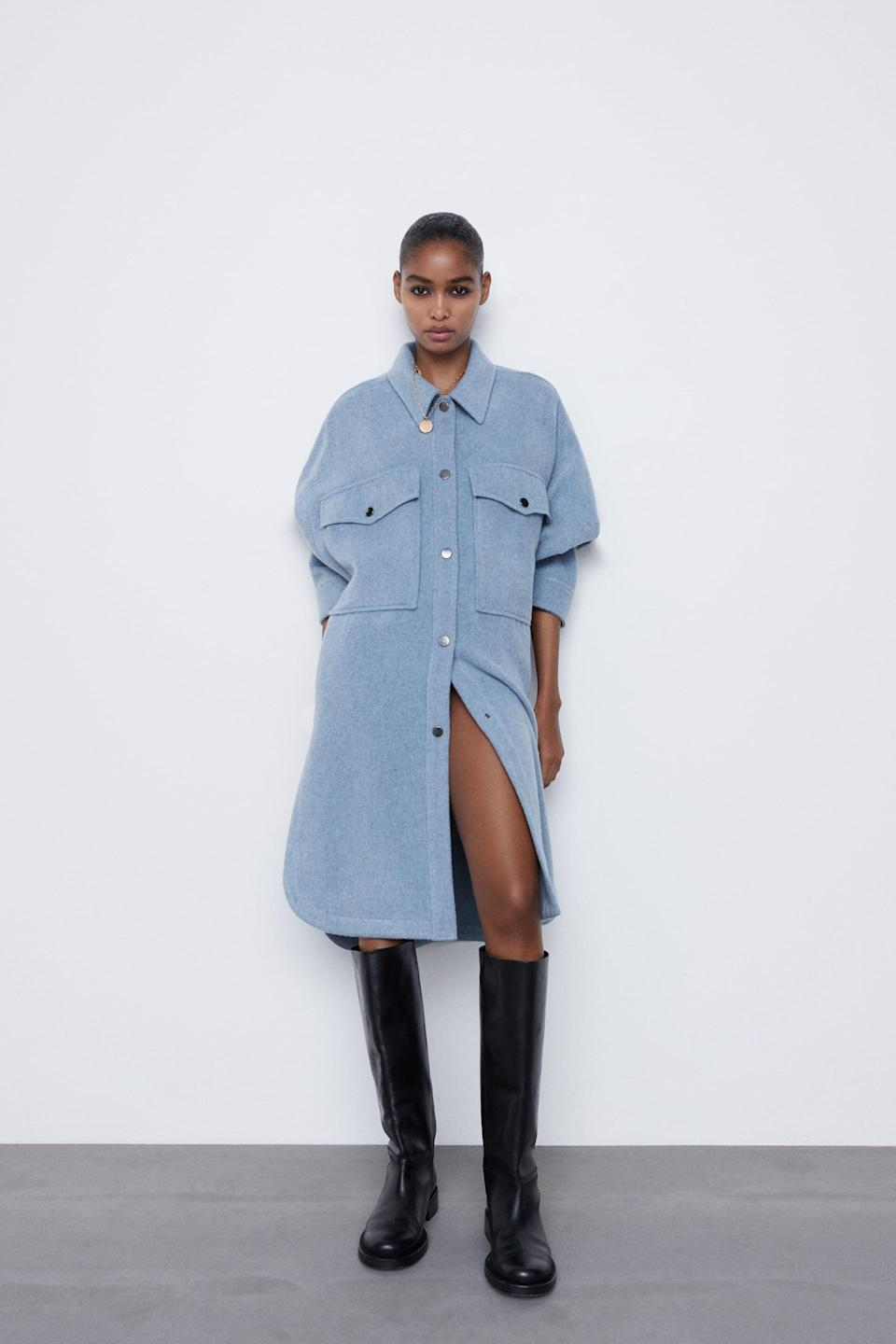 <p>Wear this <span>Wool Blend Overshirt</span> ($119) as a jacket or a dress.</p>