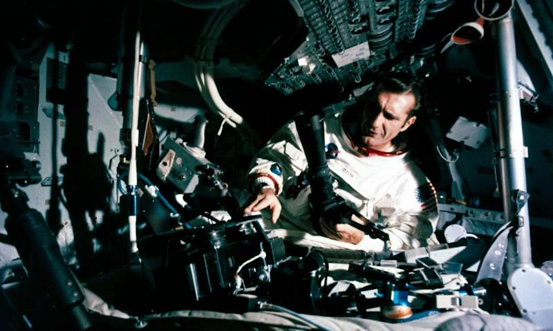 Richard Gordon in lunar orbit inside the Apollo 12 Command Module, 1969.