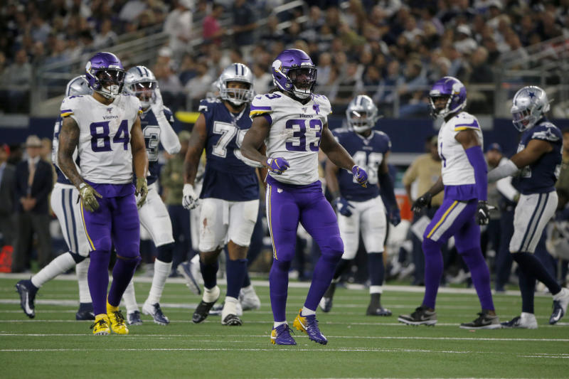 Minnesota Vikings running back Dalvin Cook (33) celebrates a run for first down during an NFL football game against the Dallas Cowboys in Arlington, Texas, Sunday, Nov. 10, 2019. (AP Photo/Michael Ainsworth)
