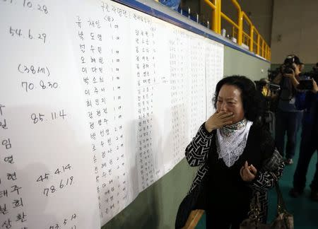 The mother of a passenger who was on a sinking ferry reacts as she finds her son's name in the survivors list at a gym where rescued passengers gather in Jindo April 16, 2014. REUTERS/Kim Hong-Ji
