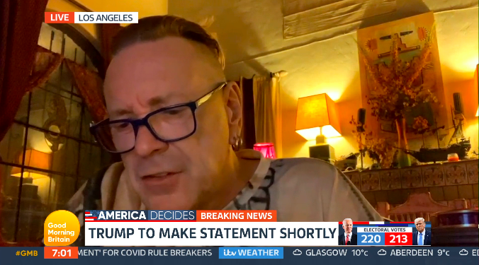 John Lydon told GMB why he has voted for Donald Trump to remain in office. (ITV)