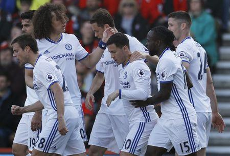 Britain Football Soccer - AFC Bournemouth v Chelsea - Premier League - Vitality Stadium - 8/4/17 Chelsea's Eden Hazard celebrates scoring their second goal with teammates Reuters / Peter Nicholls Livepic
