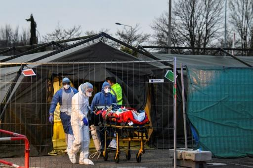 The French military set up a field hospital in Mulhouse to ease the burden on nearby hospitals