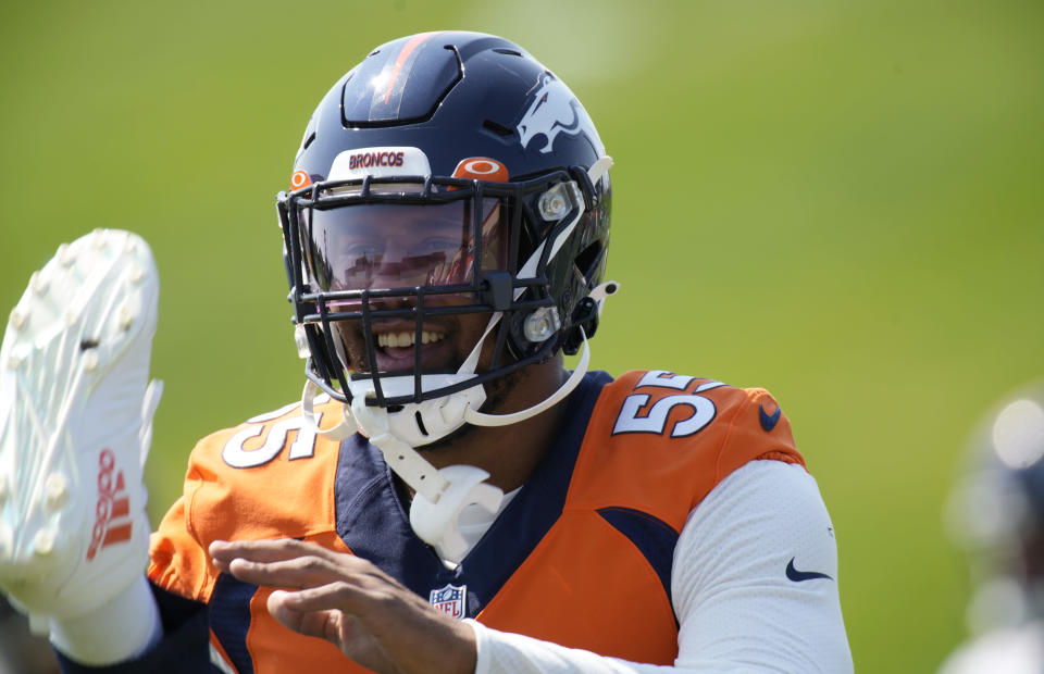 Denver Broncos outside linebacker Bradley Chubb takes part in drills during an NFL football practice at the team's headquarters Thursday, Sept. 9, 2021, in Englewood, Colo. (AP Photo/David Zalubowski)