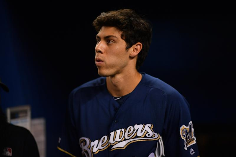 Christian Yelich fired back after Yu Darvish's comments fueled Brewers sign-stealing speculation. (Photo by Mark Brown/Getty Images)