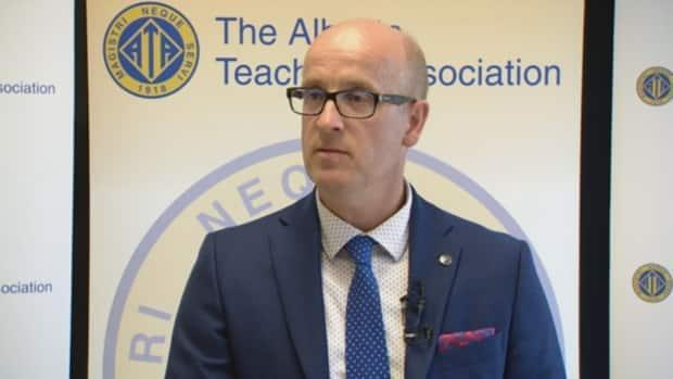 Alberta Teachers' Association president Jason Schilling said documents usually released on budget day, including school funding manuals and school jurisdiction funding profiles, weren't made available Thursday. (Trevor Wilson/CBC - image credit)