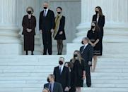<p>People watch as the casket of Associate Justice Ruth Bader Ginsburg arrives at the U.S. Supreme Court where she will lie in repose, on September 23, 2020 in Washington, DC.</p>