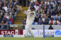 England captain Joe Root bats during the second day of third test cricket match between England and India, at Headingley cricket ground in Leeds, England, Thursday, Aug. 26, 2021. (AP Photo/Jon Super)