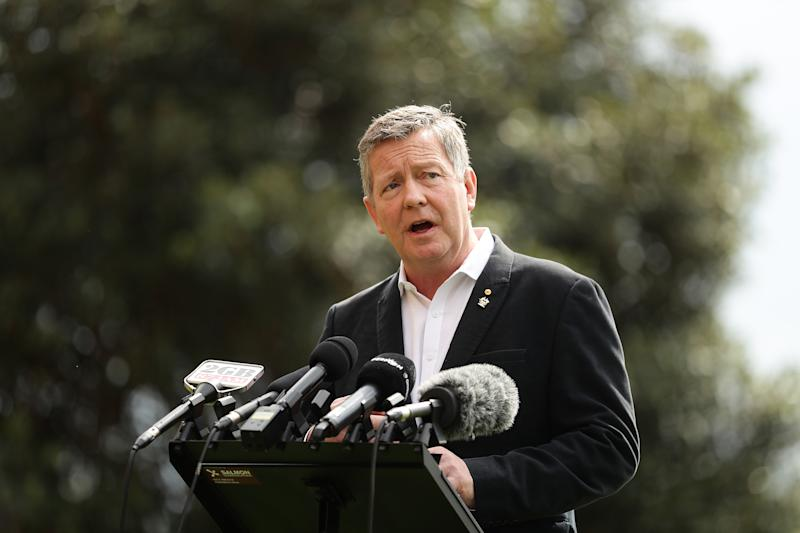 Australian Olympic Committee CEO Matt Carroll speaks to the media during a press conference at the MCA on March 25, 2020 in Sydney, Australia. (Photo by Mark Metcalfe/Getty Images)