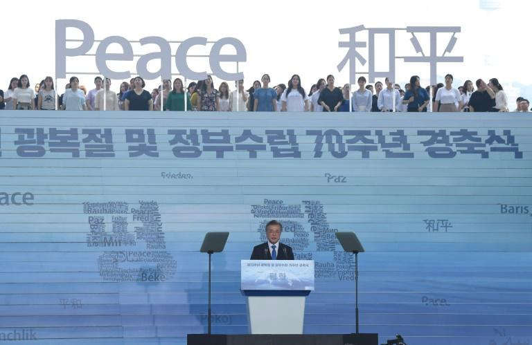 South Korean President Moon Jae-in delivers a speech at a ceremony marking the 73rd anniversary of liberation from Japanese colonial rule in 1945