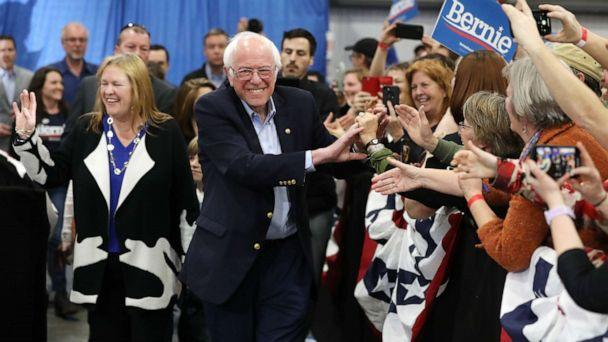 PHOTO: Democratic presidential candidate Sen. Bernie Sanders greets supporters at his Super Tuesday night event on March 03, 2020, in Essex Junction, Vt. (Chip Somodevilla/Getty Images)