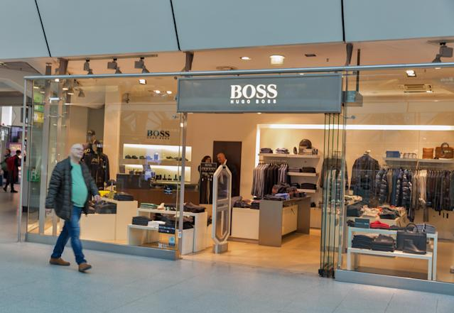 A Hugo Boss shop window in Tegel Airport. It is a German luxury fashion house founded in 1924 by Hugo Boss. Photo: Getty