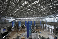 A part of Main Press Center (MPC) for Tokyo 2020 Olympic Games is seen at Tokyo Big Site Friday, July 2, 2021, in Tokyo. (AP Photo/Eugene Hoshiko)