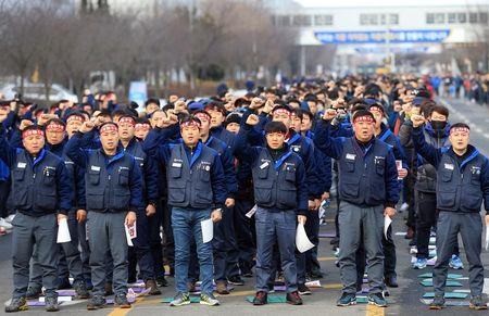 Members of the GM Korea union, a subcommittee for Korea Metal Workers' Union, hold a meeting to demand GM Korea withdraw its plan to shut down Gunsan manufacturing plant in Gunsan