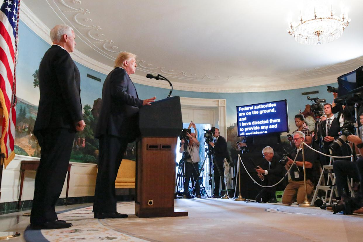 President Trump responds to news of the mass shootings in El Paso and Dayton, August 5, 2019. (Photo: Leah Millis/Reuters)