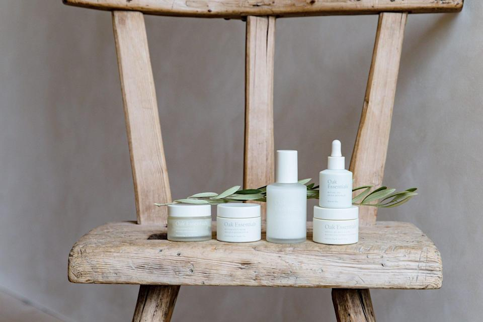 oak essentials products on wood chair