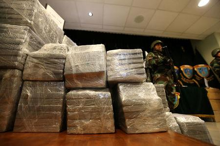 Peruvian police show to the press more than two tons of cocaine hidden in packages of asparagus destined for Amsterdam, and arrested a Serbian man and four Peruvians suspected of running a smuggling operation from a gourmet food business, authorities said, at police headquarters in Lima, Peru, January 12, 2017. REUTERS/Mariana Bazo