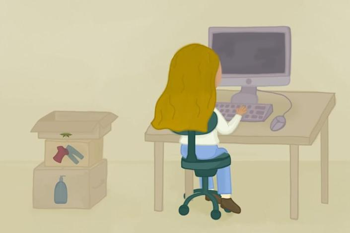 Illustration of a person at a computer with online shopping boxes next to the desk.