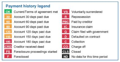 payment history codes
