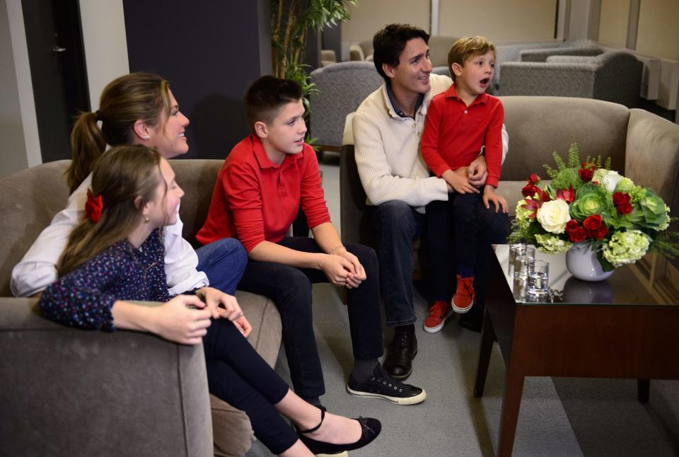 Liberal leader Justin Trudeau and wife Sophie Gregoire-Trudeau, and children Xavier, Ella-Grace and Hadrien (right) watch election results in Montreal on Monday Oct. 21, 2019. THE CANADIAN PRESS/Sean Kilpatrick