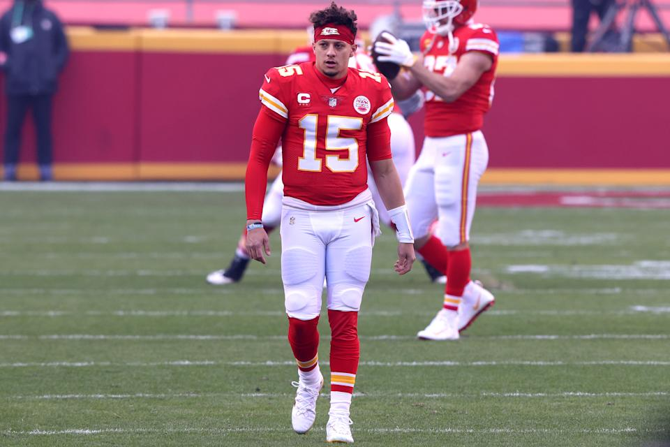 Chiefs QB Patrick Mahomes was limping after an apparent foot injury in the first half against the Browns. (Photo by Jamie Squire/Getty Images)