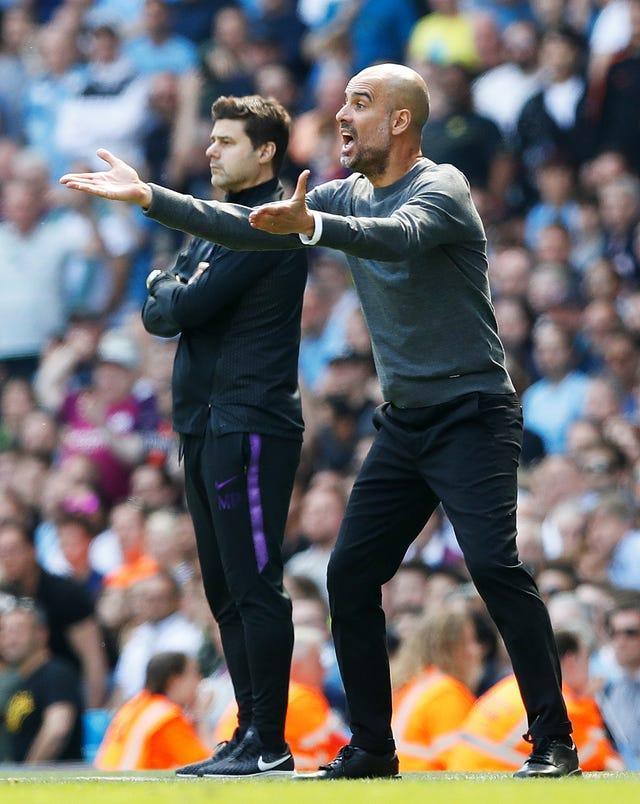 Pochettino (left) believes Guardiola (right) is one of the best coaches in the world