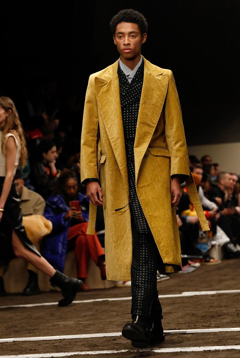 Rhude's 2020-2021 fall-winter collection had plenty of smart suits, belted coats and other reworked classics in offbeat colors. Paris, January 14, 2020.