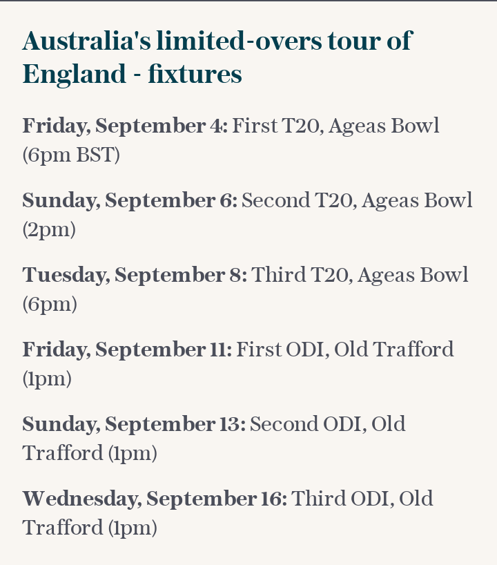 Australia's limited-overs tour of England - fixtures