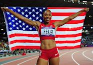 """<a href=""""http://sports.yahoo.com/olympics/track-field/allyson-felix-1132858/"""" data-ylk=""""slk:Allyson Felix"""" class=""""link rapid-noclick-resp"""">Allyson Felix</a> of the United States celebrates after winning gold in the Women's 200m Final on Day 12 of the London 2012 Olympic Games at Olympic Stadium on August 8, 2012 in London, England. (Photo by Stu Forster/Getty Images)"""