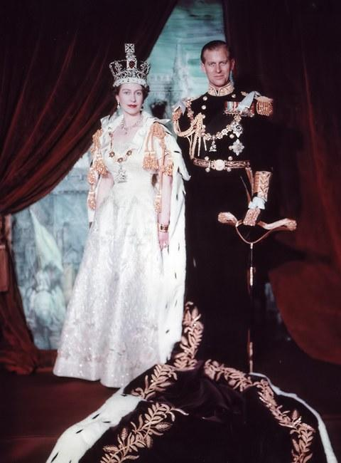 Queen Elizabeth II and Prince Philip after the coronation, June 1953.