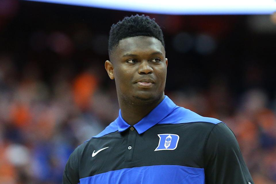 SYRACUSE, NY - FEBRUARY 23:  Zion Williamson #1 of the Duke Blue Devils stands on the court prior to the game against the Syracuse Orange at the Carrier Dome on February 23, 2019 in Syracuse, New York. Duke defeated Syracuse 75-65. (Photo by Rich Barnes/Getty Images)