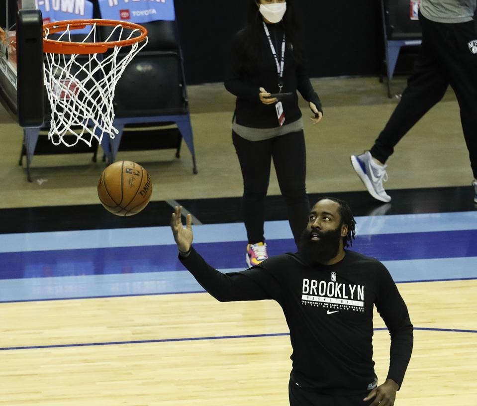 James Harden #13 of the Brooklyn Nets warms up prior to playing the Houston Rockets at Toyota Center on March 03, 2021 in Houston, Texas. NOTE TO USER: User expressly acknowledges and agrees that, by downloading and/or using this photograph, user is consenting to the terms and conditions of the Getty Images License Agreement. (Photo by Bob Levey/Getty Images)