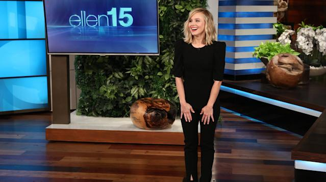 "Kristen Bell hosts ""The Ellen DeGeneres Show."" (Photo: Michael Rozman/Warner Bros.)"