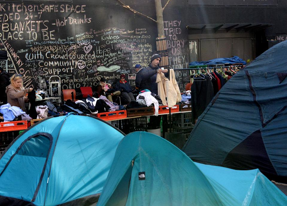 Pictured: Homeless shelters in Martin Place in Sydney's Central Business District, in August, 2017. Dozens of tents have been erected since December with the number continuing to grow despite attempts by authorities to move people on. (AAP Image/ Jeremy Piper)
