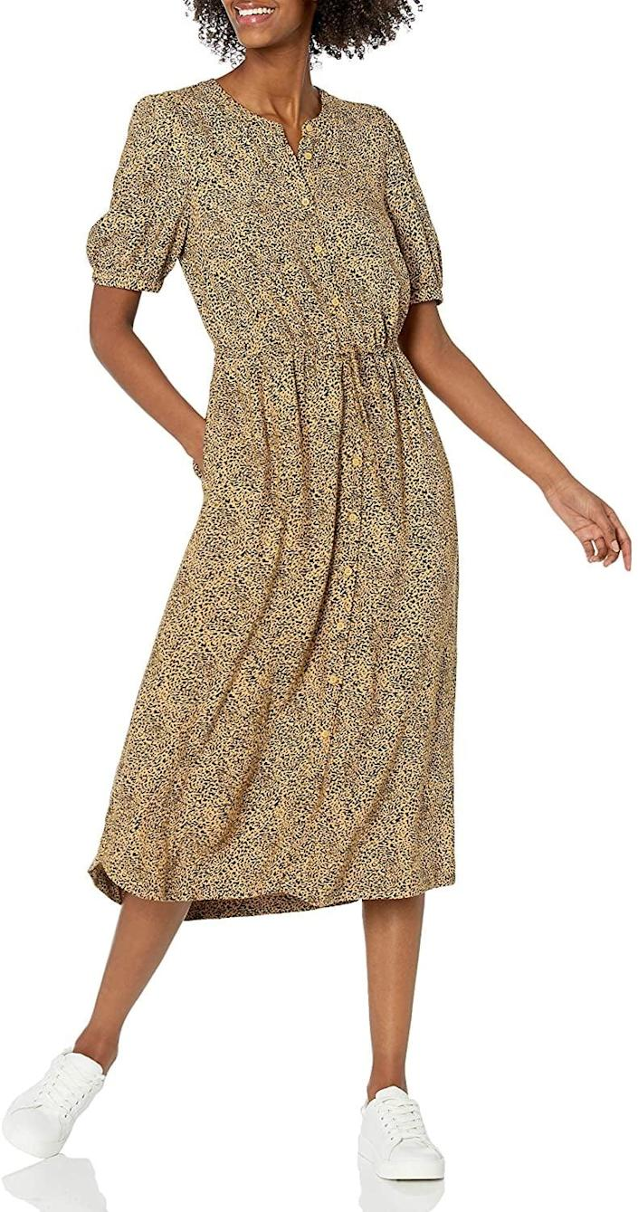 <p>This <span>Amazon Essentials Midi A-Line Dress</span> ($28) features an easygoing silhouette that makes it look relaxed yet still put-together enough for the 9-to-5 grind. Finish off your looks with some sneakers or low-heeled mules.</p>