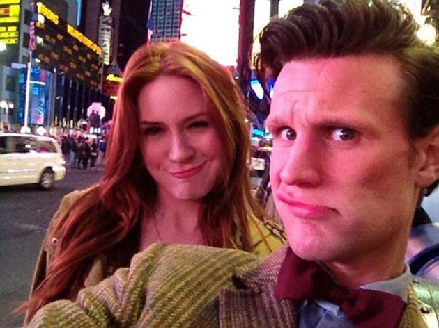 Celebrity photos: Dr Who stars Matt Smith and Karen Gillan were in New York filming scenes for the show. Enjoying some downtime in the evening, they shared this snap with Twitter followers.
