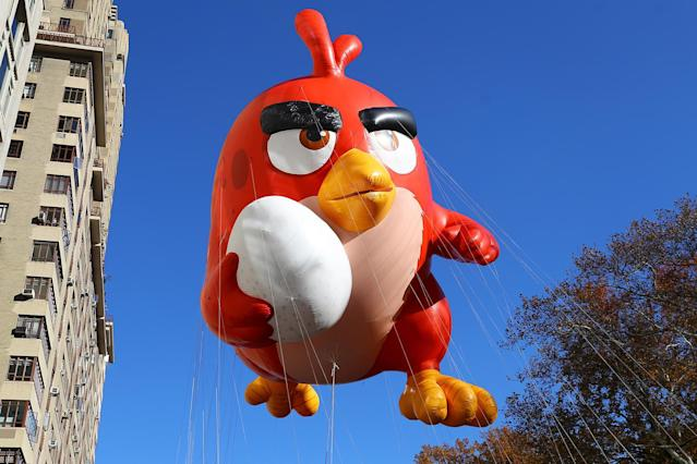 <p>The Angry Birds' Red could be up to no good with an egg in his right hand on Central Park West in the 91st Macy's Thanksgiving Day Parade in New York, Nov. 23, 2017. (Photo: Gordon Donovan/Yahoo News) </p>