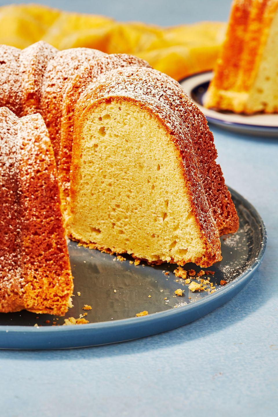 """<p>Simple and moist.</p><p>Get the recipe from <a href=""""https://www.delish.com/cooking/recipe-ideas/a29791107/sour-cream-pound-cake-recipe/"""" rel=""""nofollow noopener"""" target=""""_blank"""" data-ylk=""""slk:Delish"""" class=""""link rapid-noclick-resp"""">Delish</a>.</p>"""