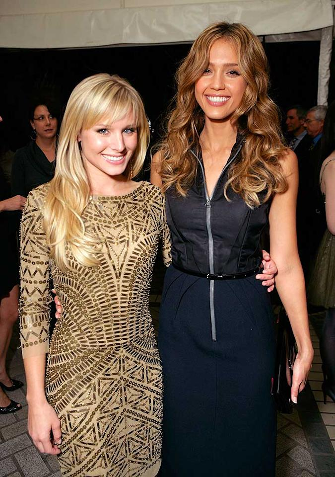 """Although both actresses are beautiful, Kristen Bell's got a glow about her that outshines Jessica Alba. Todd Williamson/<a href=""""http://www.wireimage.com"""" target=""""new"""">WireImage.com</a> - October 15, 2007"""