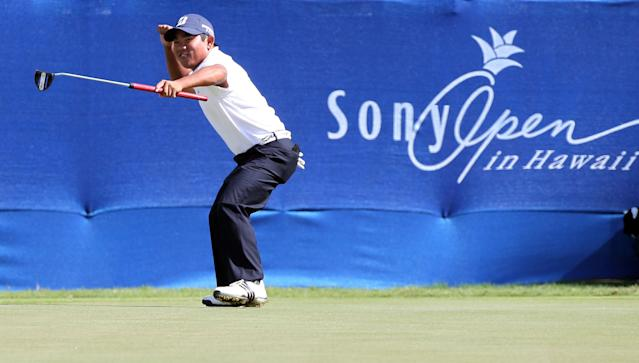 HONOLULU, HI - JANUARY 13: Tadd Fujikawa reacts to an eagle on the 9th hole during the second round of the Sony Open in Hawaii at Waialae Country Club on January 13, 2012 in Honolulu, Hawaii. (Photo by Sam Greenwood/Getty Images)