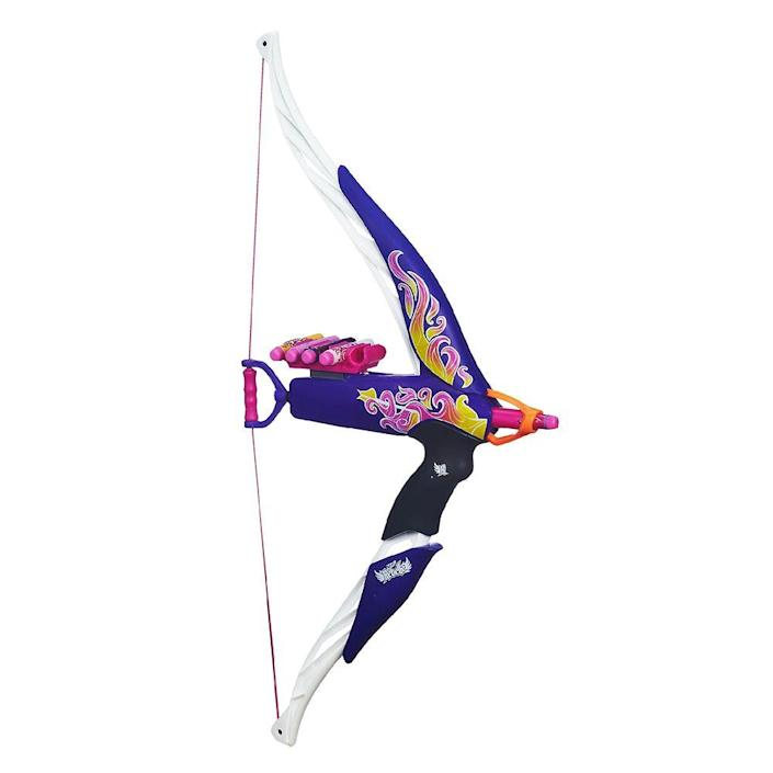 """<p><a class=""""link rapid-noclick-resp"""" href=""""https://www.amazon.com/Nerf-Rebelle-Heartbreaker-Flame-Design/dp/B00GU2QEFM/ref=sr_1_1?tag=syn-yahoo-20&ascsubtag=%5Bartid%7C10063.g.34738490%5Bsrc%7Cyahoo-us"""" rel=""""nofollow noopener"""" target=""""_blank"""" data-ylk=""""slk:BUY NOW"""">BUY NOW</a></p><p>The Heartbreaker Bow by Nerf was a hit in 2013. Going off the archery trend (in part thanks to the beloved Katniss in <em>The Hunger Games</em> franchise), this line of toys, marketed to girls, shot foam darts up to 75 feet. <br></p>"""