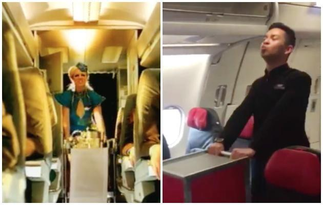 Nasir even brought along the trolley as a prop! Photo: Youtube, Instagram/tonyfernandes.