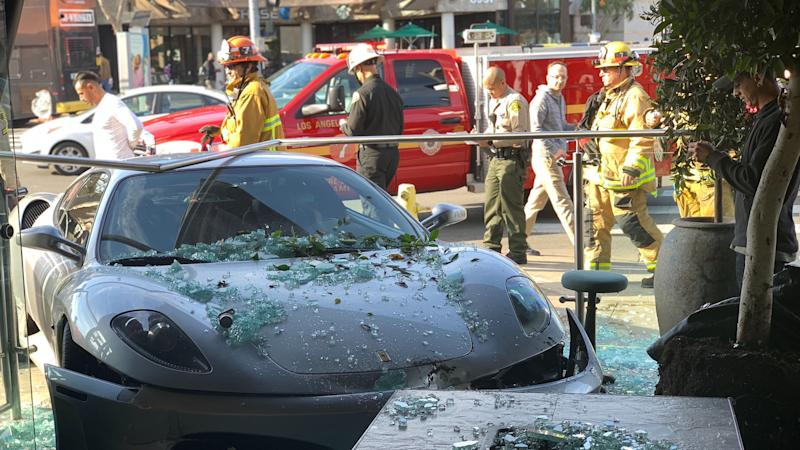 Ferrari crashes into Lisa Vanderpump's restaurant in West Hollywood