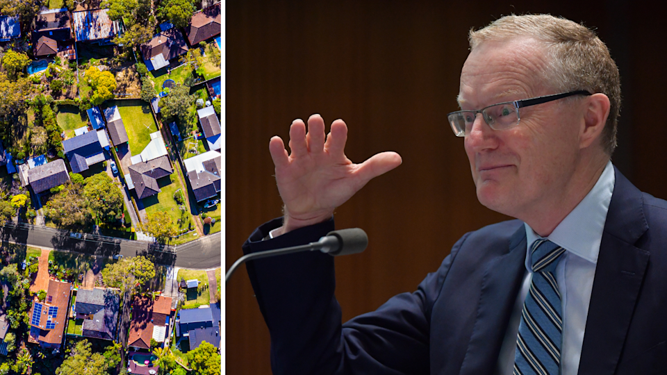 RBA Governor Philip Lowe and an aerial shot of an Australian suburb.
