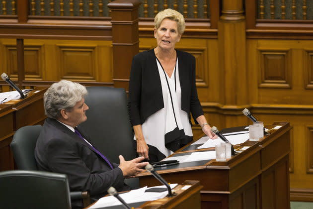 Former Ontario premier Kathleen Wynne speaks in the legislative chamber at Queen's Park in Toronto on July 30, 2018. Her government considered allowing private bailiffs to enforce evictions orders but didn't go through with it.