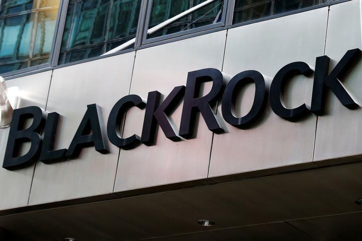 FILE PHOTO - The BlackRock logo is seen outside of its offices in New York