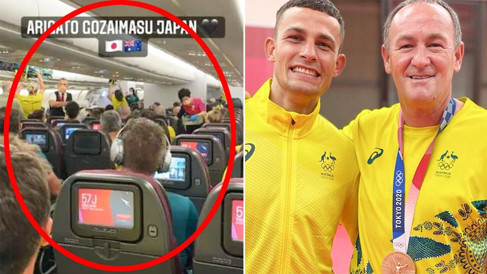 Harry Garside gave up his business class seats to coach Kevin Smith in a wonderful gesture from the Aussie boxer. Pic: Instagram